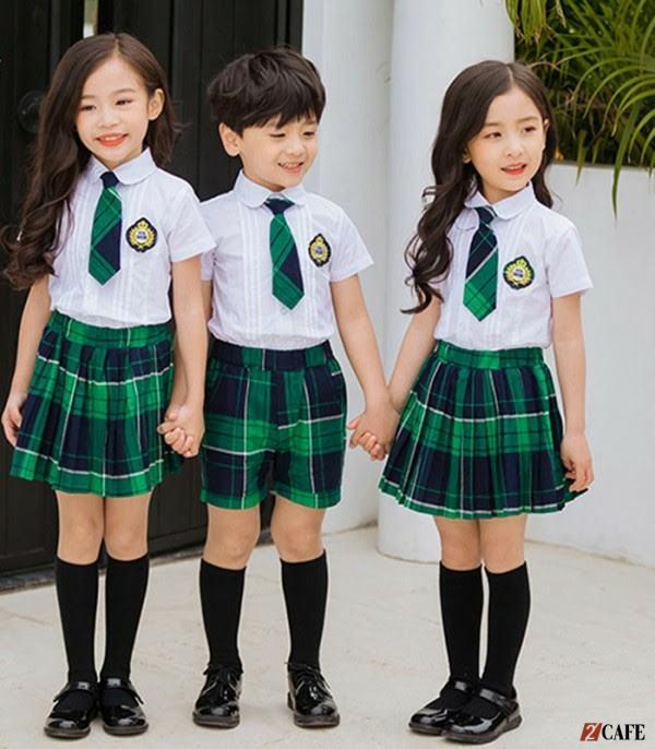 Áo quần đồng phục học sinh lớp 1 sử dụng họa tiết caro (Ảnh: Internet)