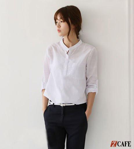 Sự mới mẻ đến từ áo sơ mi trắng đồng phục cổ trụ