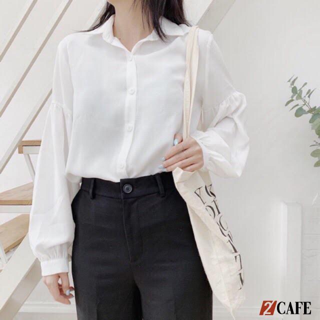 Áo sơ mi trắng đồng phục tay bèo nữ tính