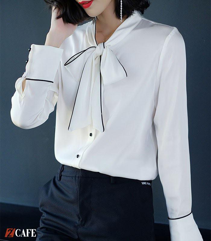 Áo sơ mi trắng đồng phục cổ V thắt nơ tuyệt đẹp