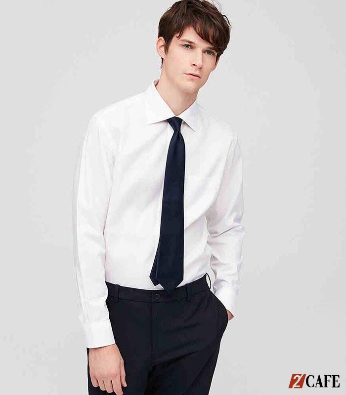 Mẫu áo sơ mi trắng đồng phục nam dáng suông